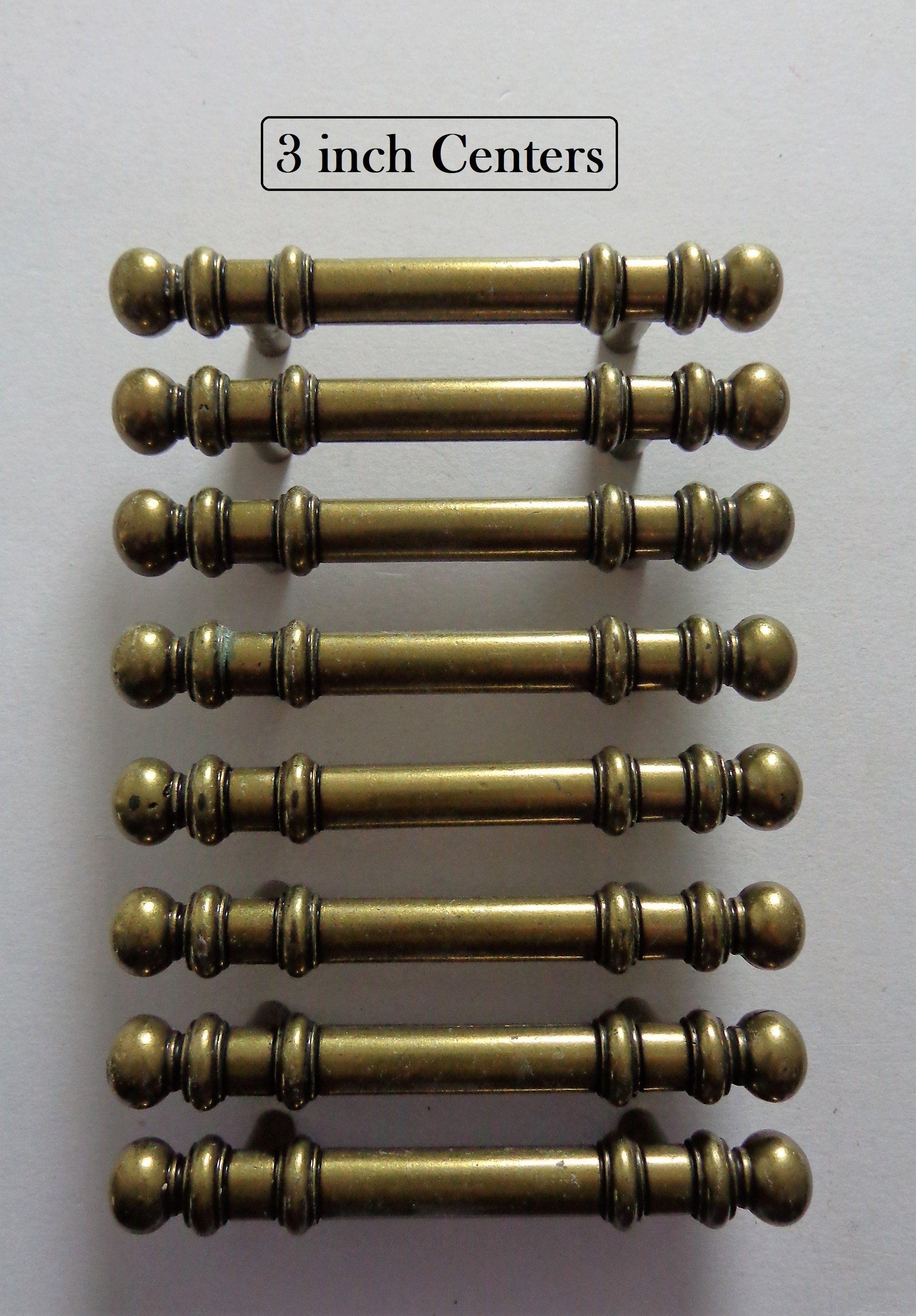 Antique Brass Pulls 3 In Centers 8 Vintage Amerock Cabinet Dresser Drawer Door Handles Pulls Hardware Amerock Brass Pulls Door Handles