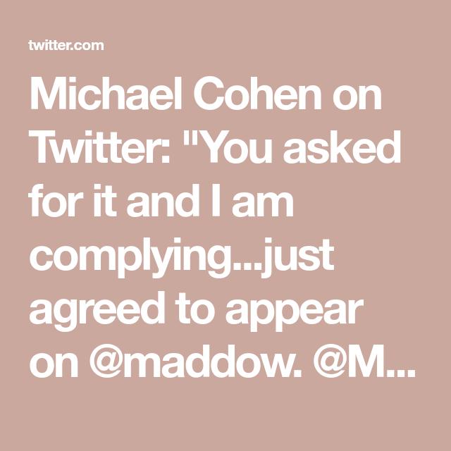 Michael Cohen on Twitter: