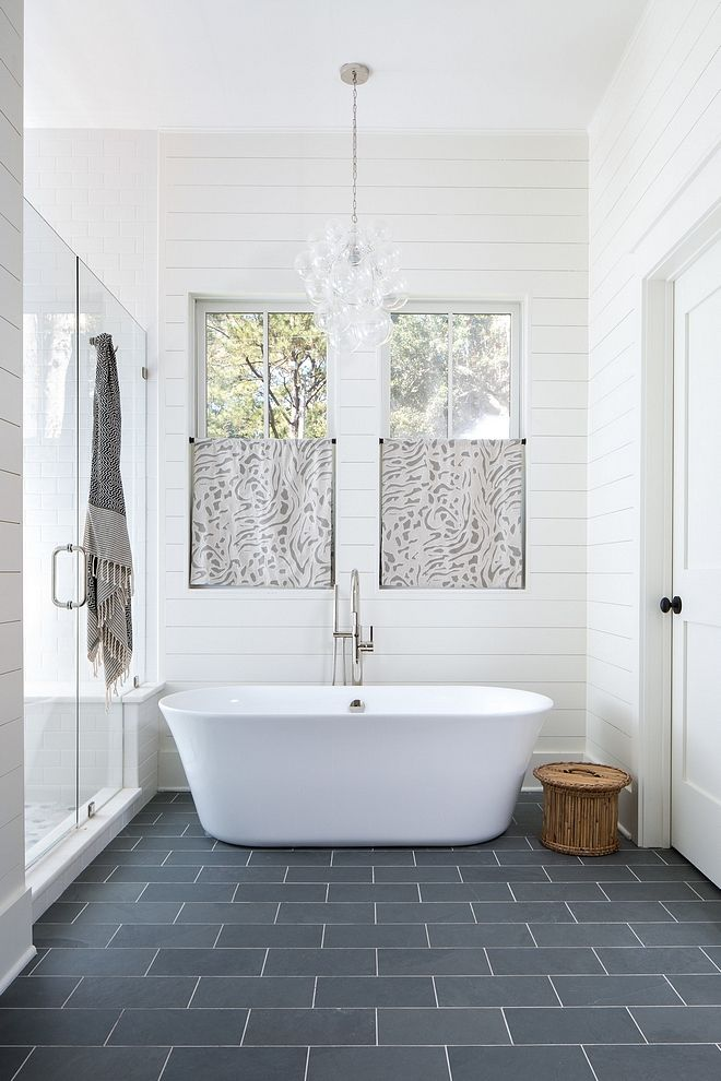 Bathroom Shiplap Ideas Gorgeous master bathroom with floor