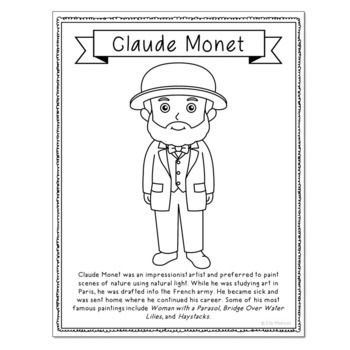 FAMOUS ARTISTS Coloring Pages for Crafts, Mini Books, and