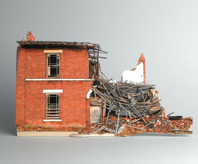 The series broken houses by Ofra Lapid is based on photographs of destroyed and neglected houses. However, these buildings were recreated as small, precise scale models and again photographed in the studio: a mock-ups of destruction.