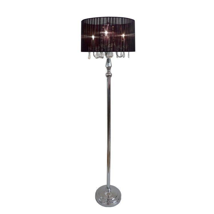 Modern Floor Lamp Black Shade Crystal Home Light Lighting Chandelier Standing Modernfloorlamp Moderncontemporary