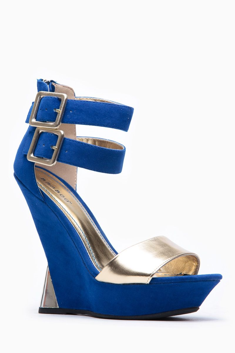 Bamboo Blue And Gold Detailed Wedges @ Cicihot Wedges Shoes