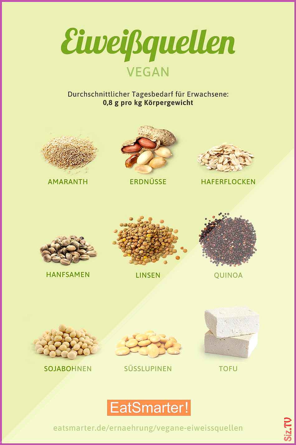 Vegane Eiwei quellen Vegane Eiwei quellen EAT SMARTER eatsmarter Infografiken  Ern hrung und Lebensm...