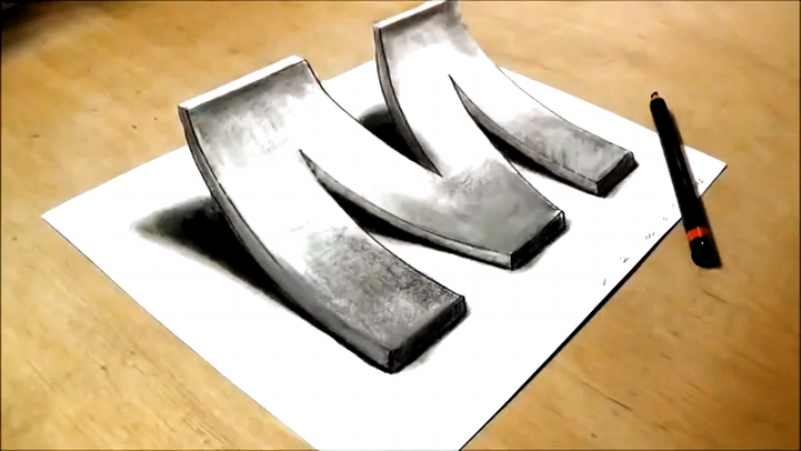 How To Draw 3d Letter M Drawing With Pencil By Vamos Letters In 2020 3d Art Drawing Art Drawings Simple Art Drawings Sketches Simple