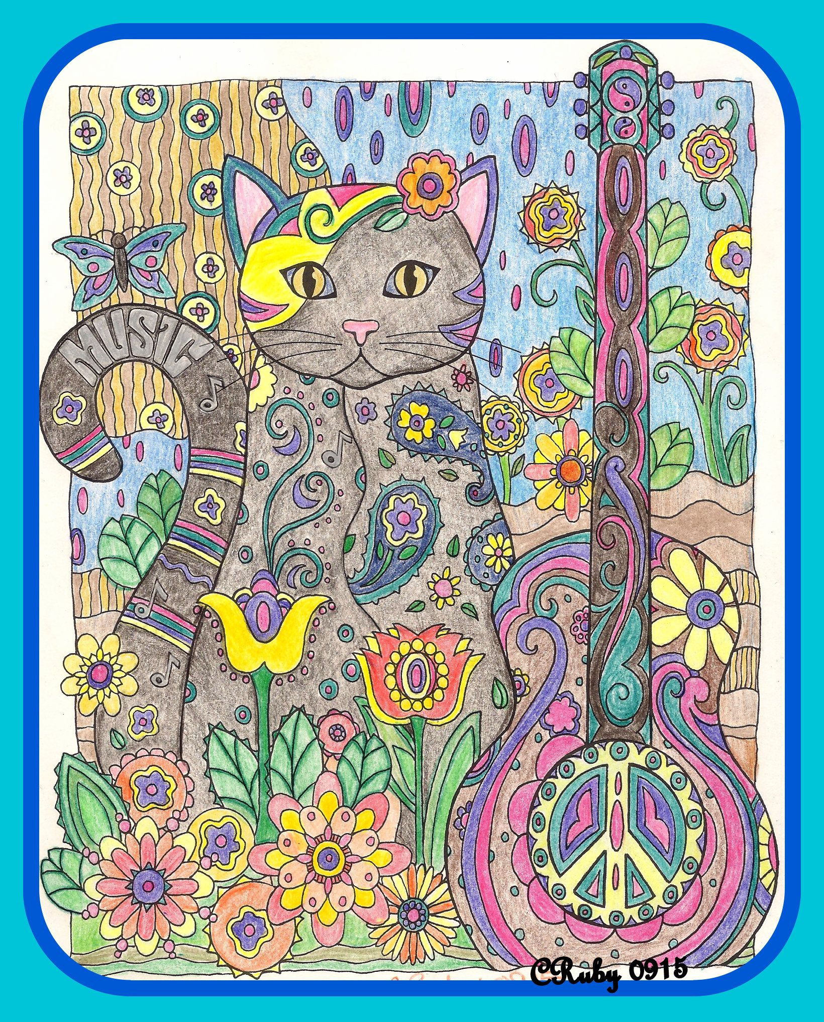 Color pencil art music cat by cruby 0915