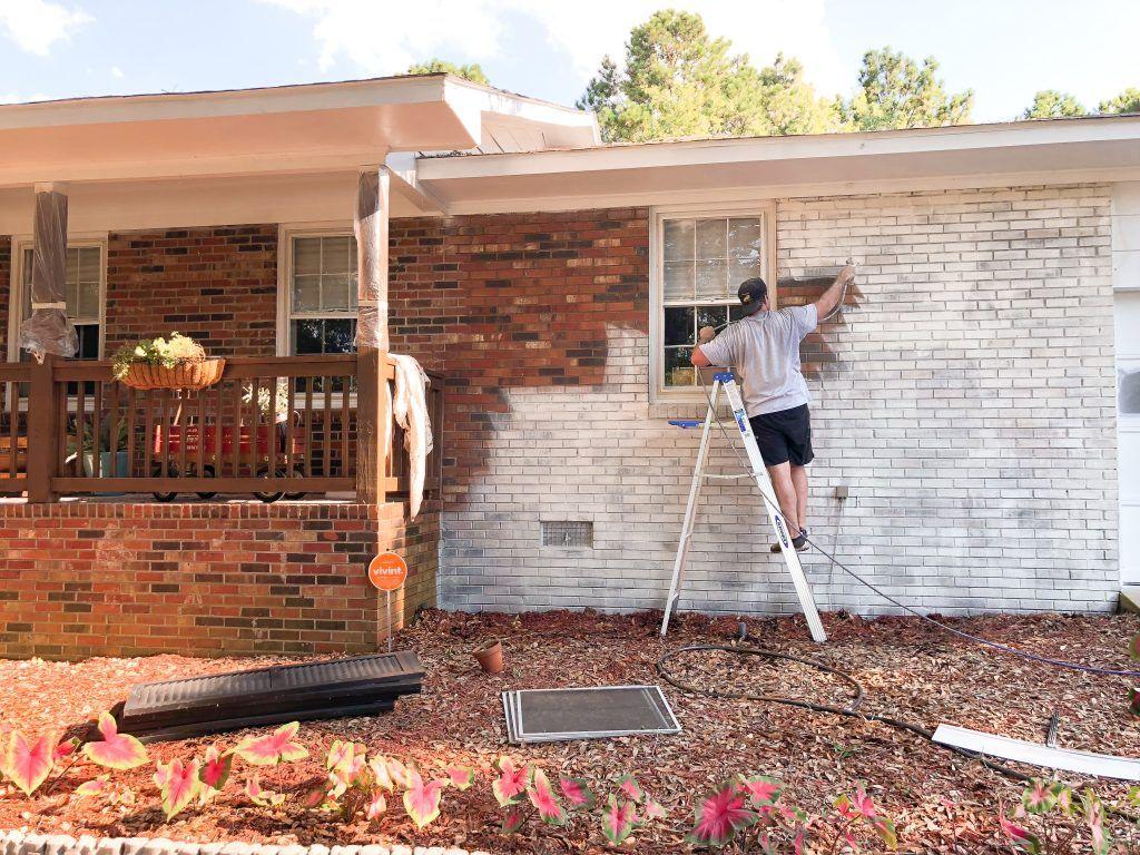 Limewash Brick Exterior Makeover Red Brick House Exterior Brick Exterior House Painted Brick House