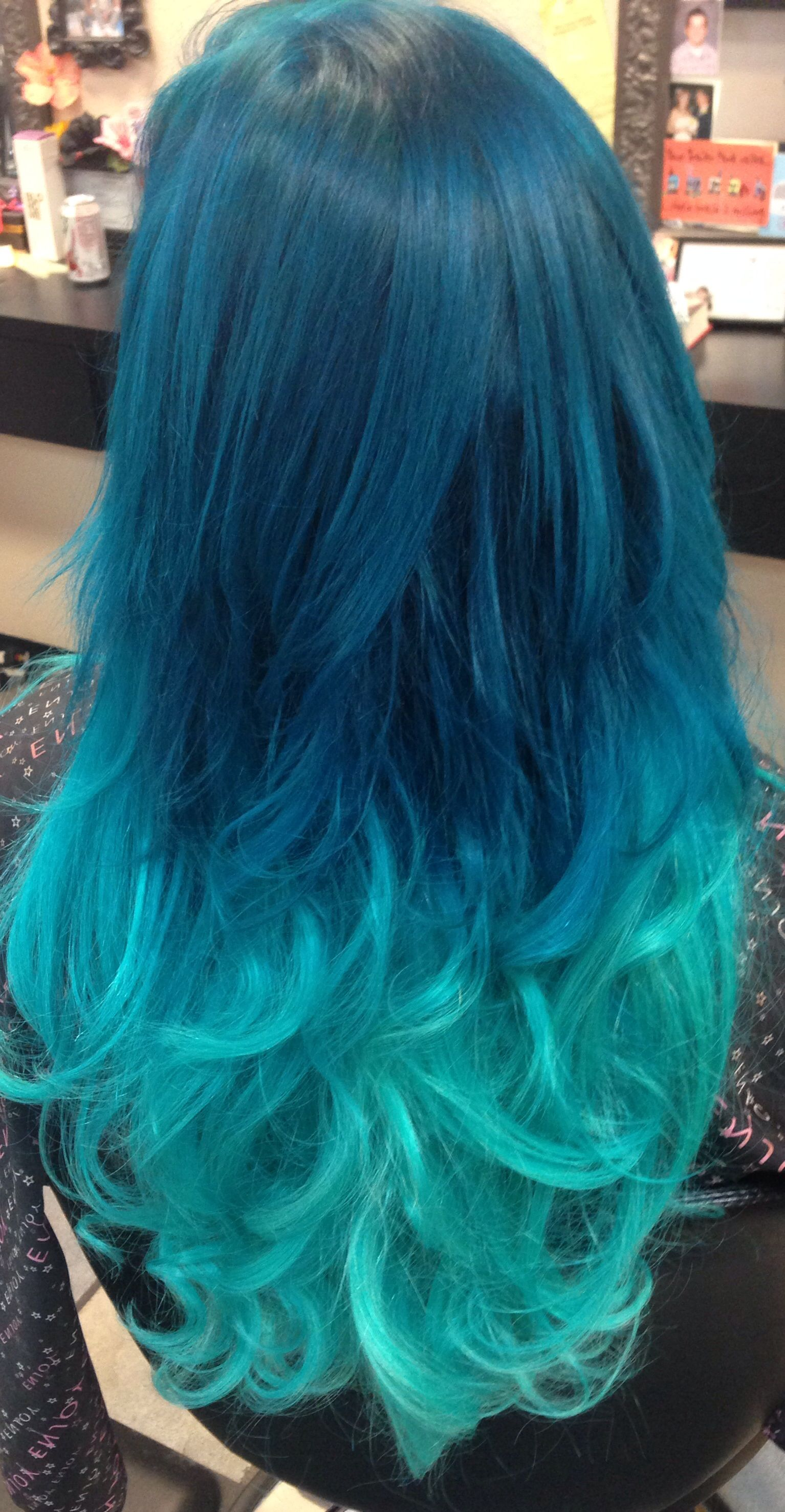 Turquoise pastel ombré hair with extensions added in for length