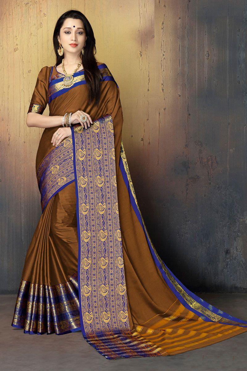 70ca7269e3 Saree Wedding · Silk Sarees · Brown-Cotton-Silk-Occasional-Wear -Broad-Border-South-