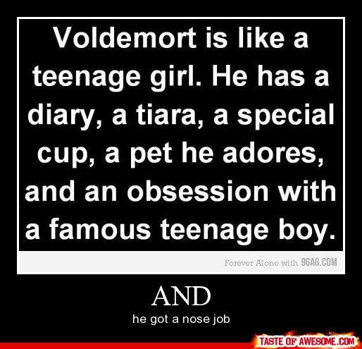 Voldemort Is A Teenage Girl Haha Harry Potter Harry Potter Funny Pictures Harry Potter Pictures