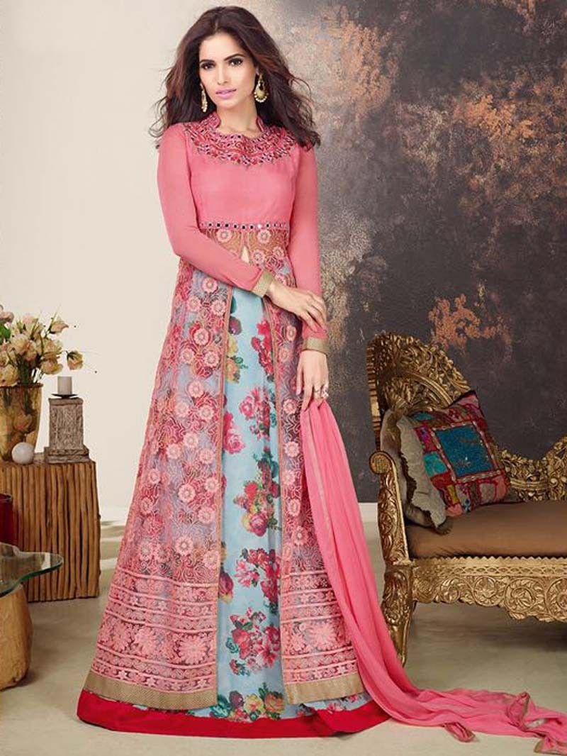 Designer salwar kameez mesmeric peach color net designer suit - Pink Color Indian Designer Front Open Lehenga Style Salwar Kameez Suit