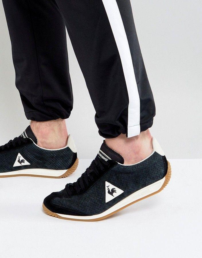 092dd3580d7a Le Coq Sportif Quartz Perforate Nubuck Sneakers In Black 1720090 ...