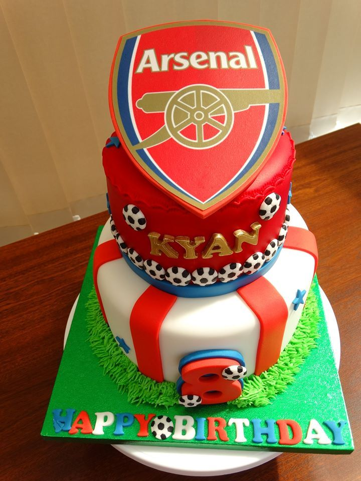 Arsenal Football Theme Cake xMCx Kids Birthday Cakes by Millzies