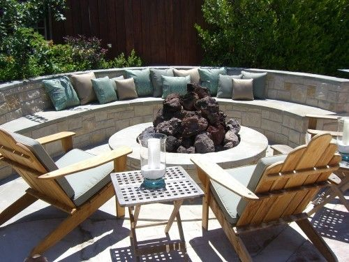 Built in circular seating and stone fire pit outdoor | Outside ideas ...