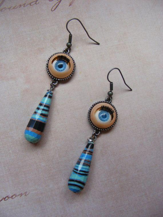Doll's Eyesplastic and stone earrings dyed by MarteenysJewelry, $14.00