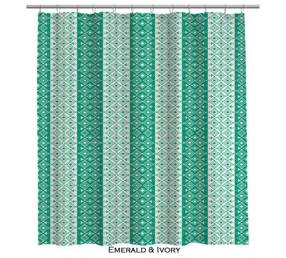 Moroccan Emerald Green And Ivory Shower Curtain 107 Green Shower Curtains Green Bathroom Bathroom Shower Curtains