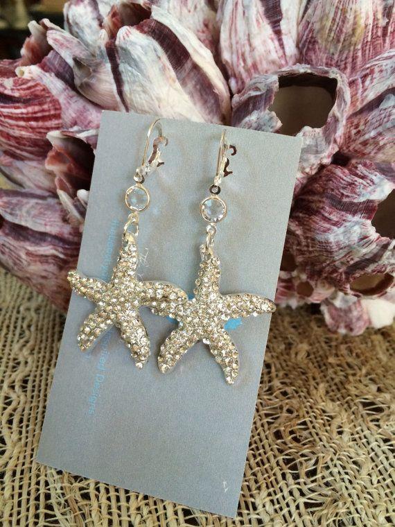 Bridal Starfish Earrings Swarovski Crystal Drop Earrings