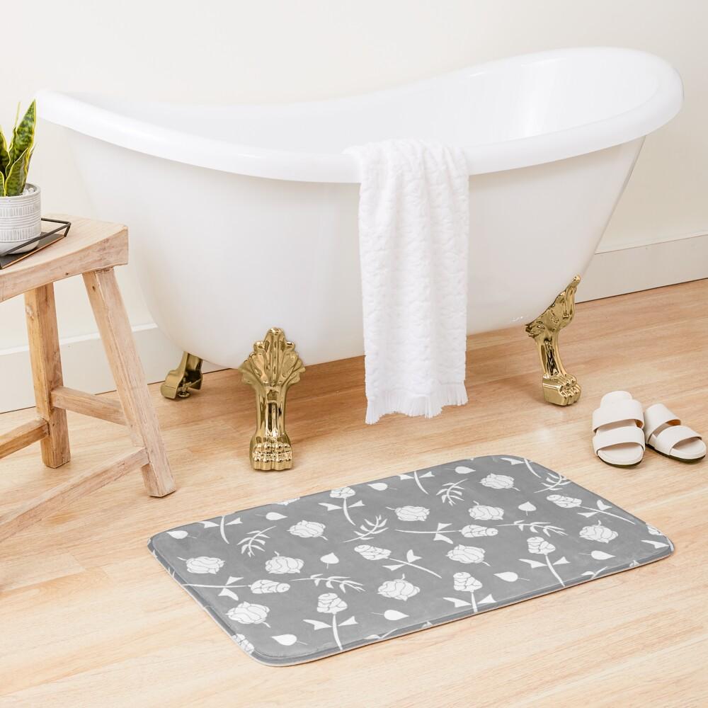 Charcoal Gray And White Floral Rosebud Pattern Bath Mat By Buzzedition Patterned Bath Mats Bath Design Bath Mat [ 1000 x 1000 Pixel ]