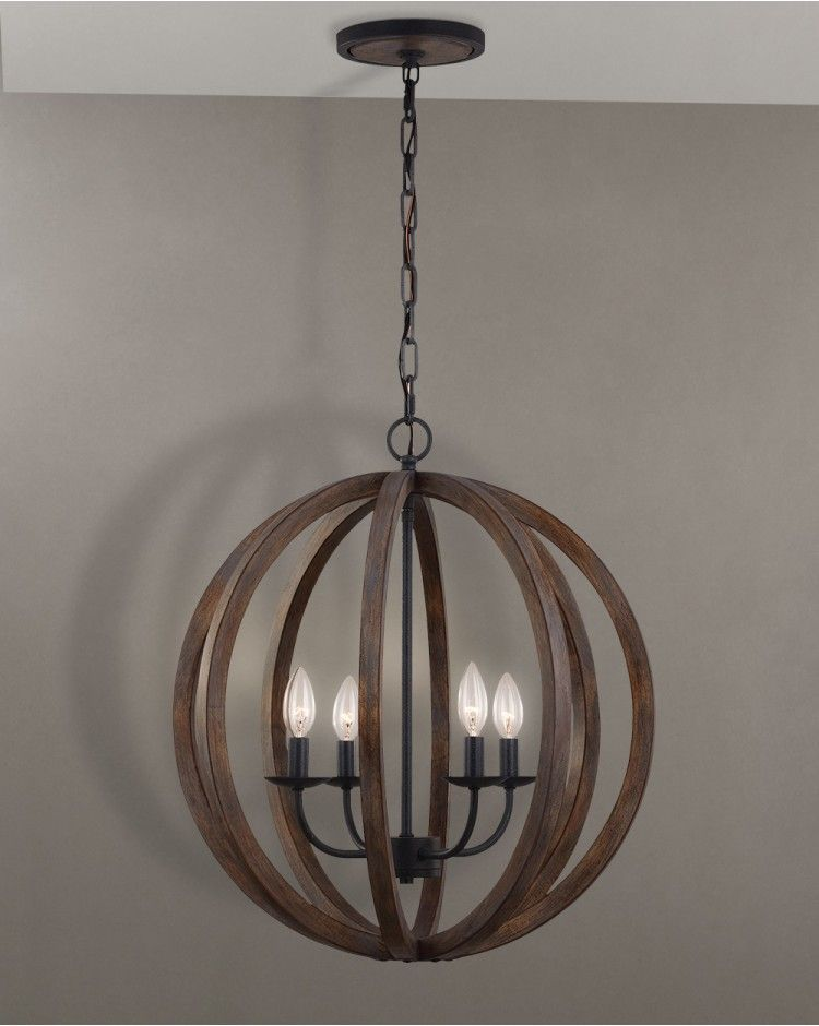 Pendant Lighting Forged Iron Four Light Ceiling Chandelier Circular Wooden Cage