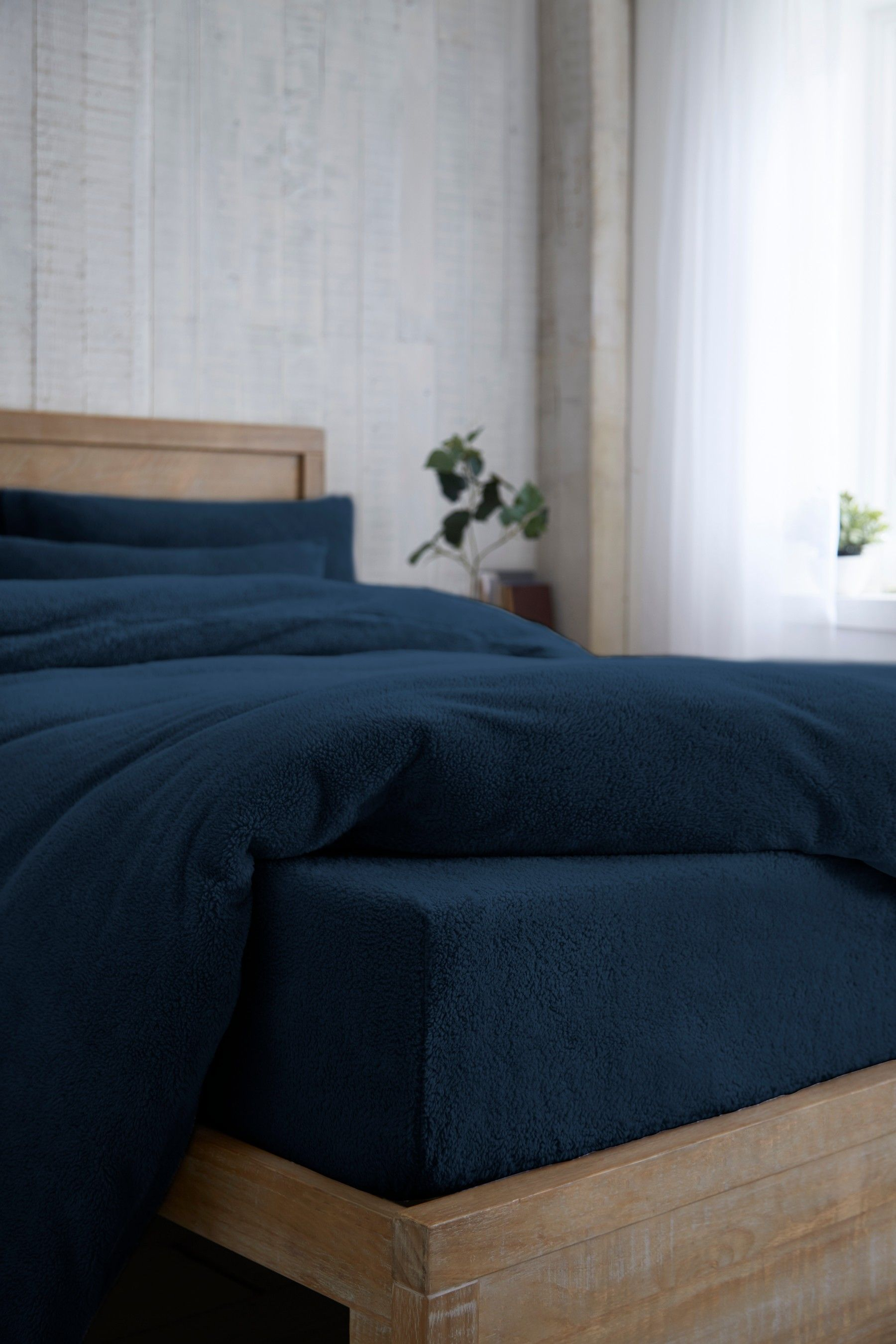 Next Cosy Fleece Fitted Sheet Blue in 2020 Blue sheets