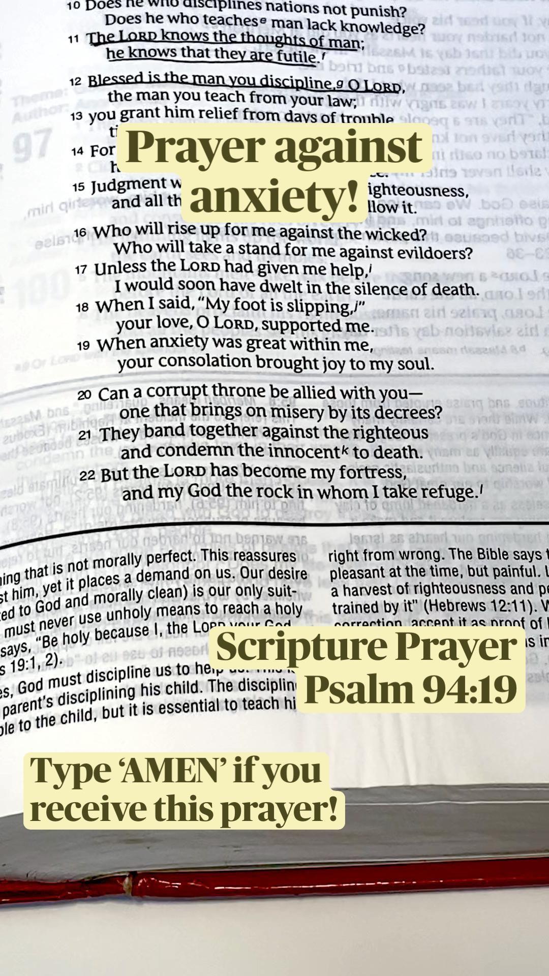 Prayer against anxiety Scripture Prayer: Psalm 94:19
