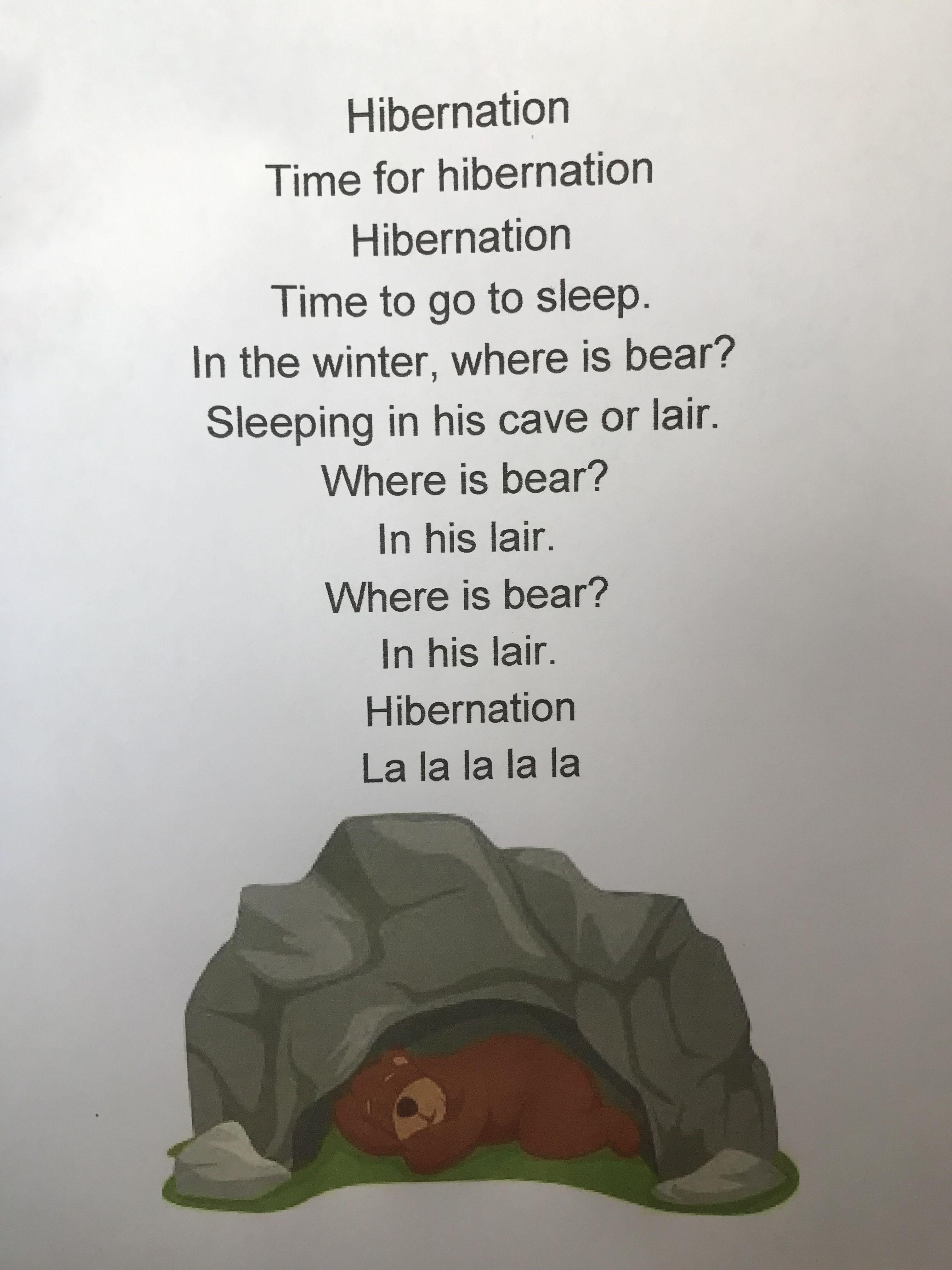 Hibernation Song For Preschool Sleeping Bear