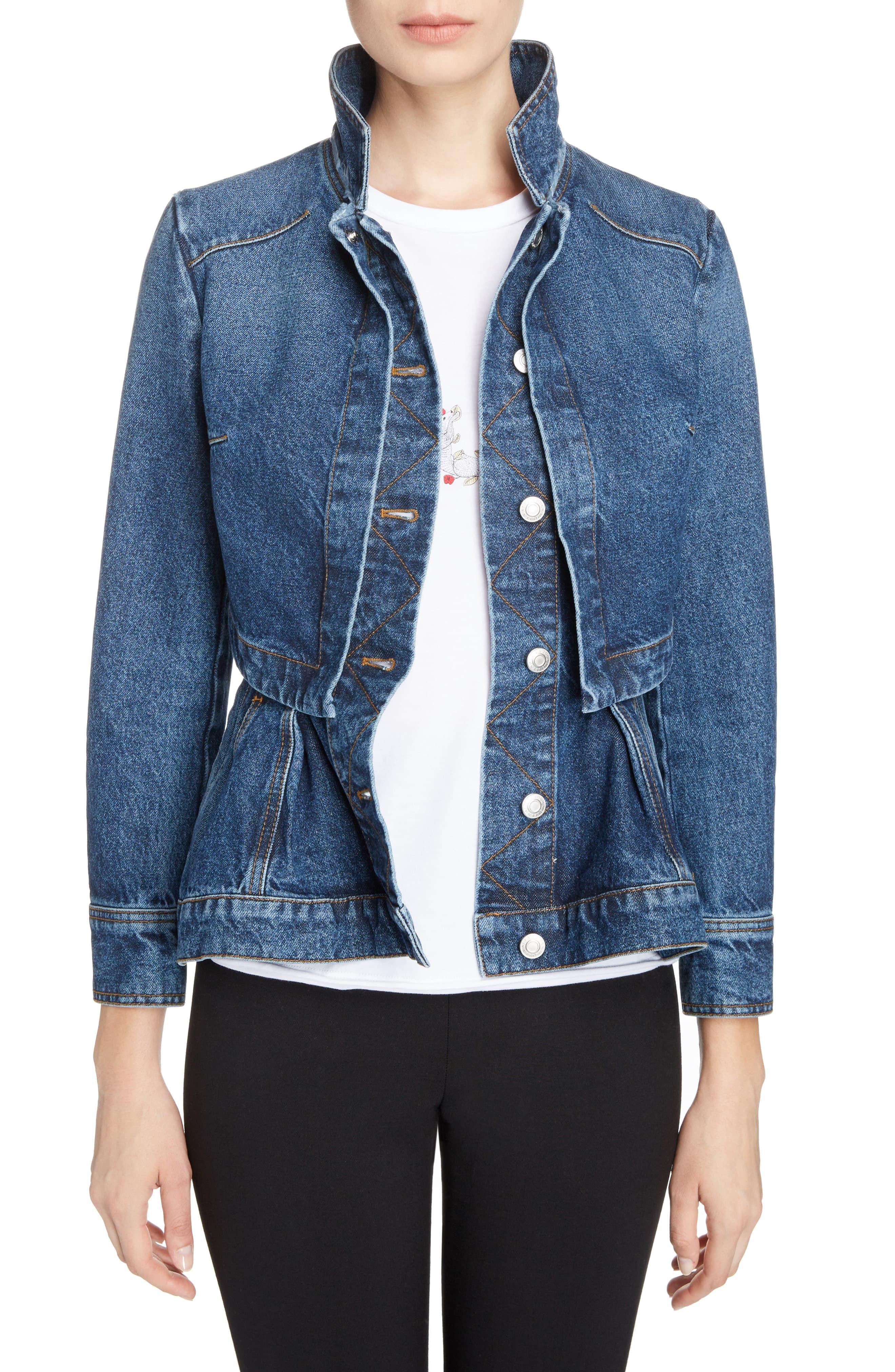 Alexander Mcqueen Peplum Denim Jacket Nordstrom Denim Jacket Denim Jacket Women Womens Fashion Jackets [ 4048 x 2640 Pixel ]