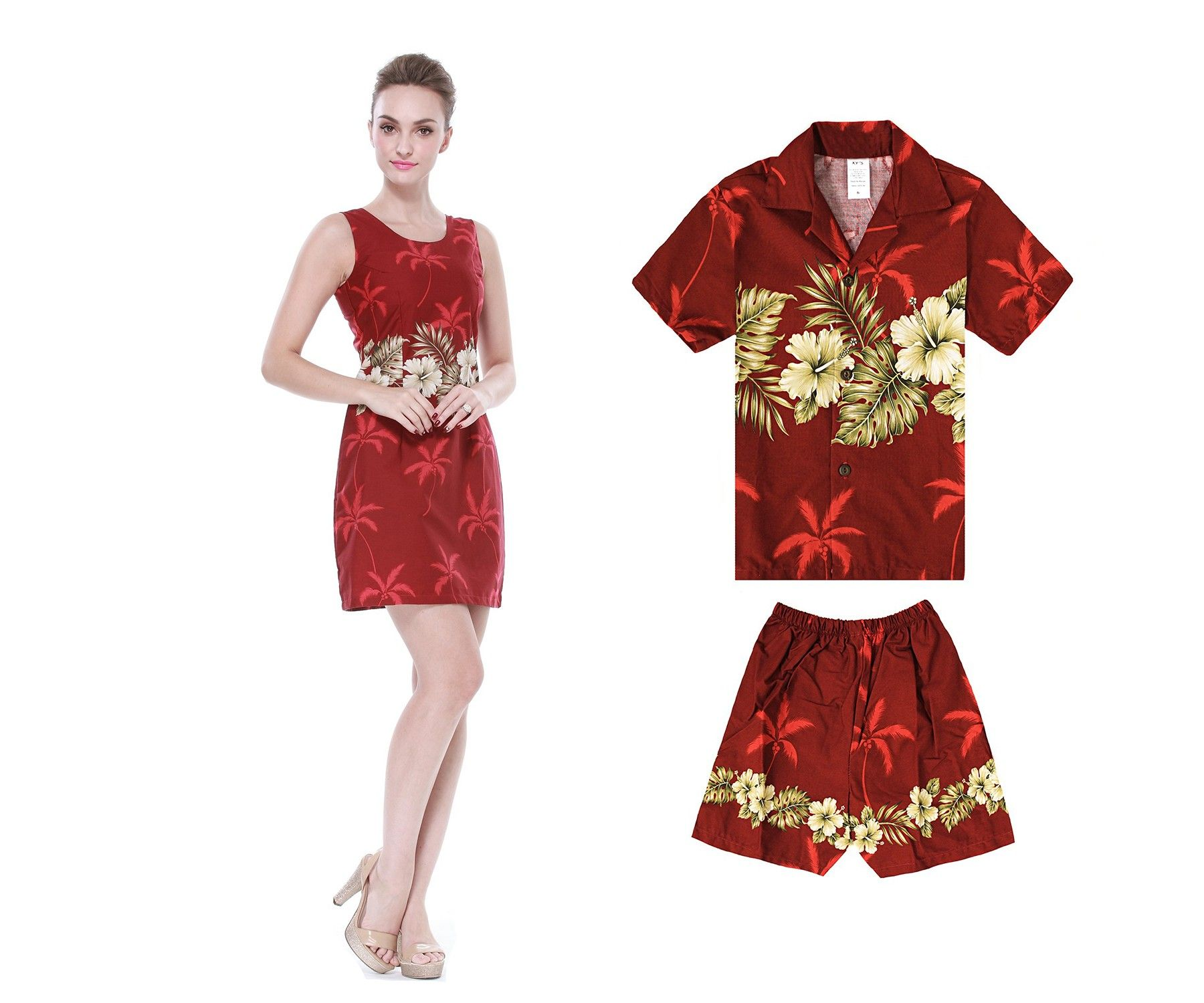 70cc2a0414a Made in Hawaii Mother Son Matching Dress and Shirt Outfit in Golden ...