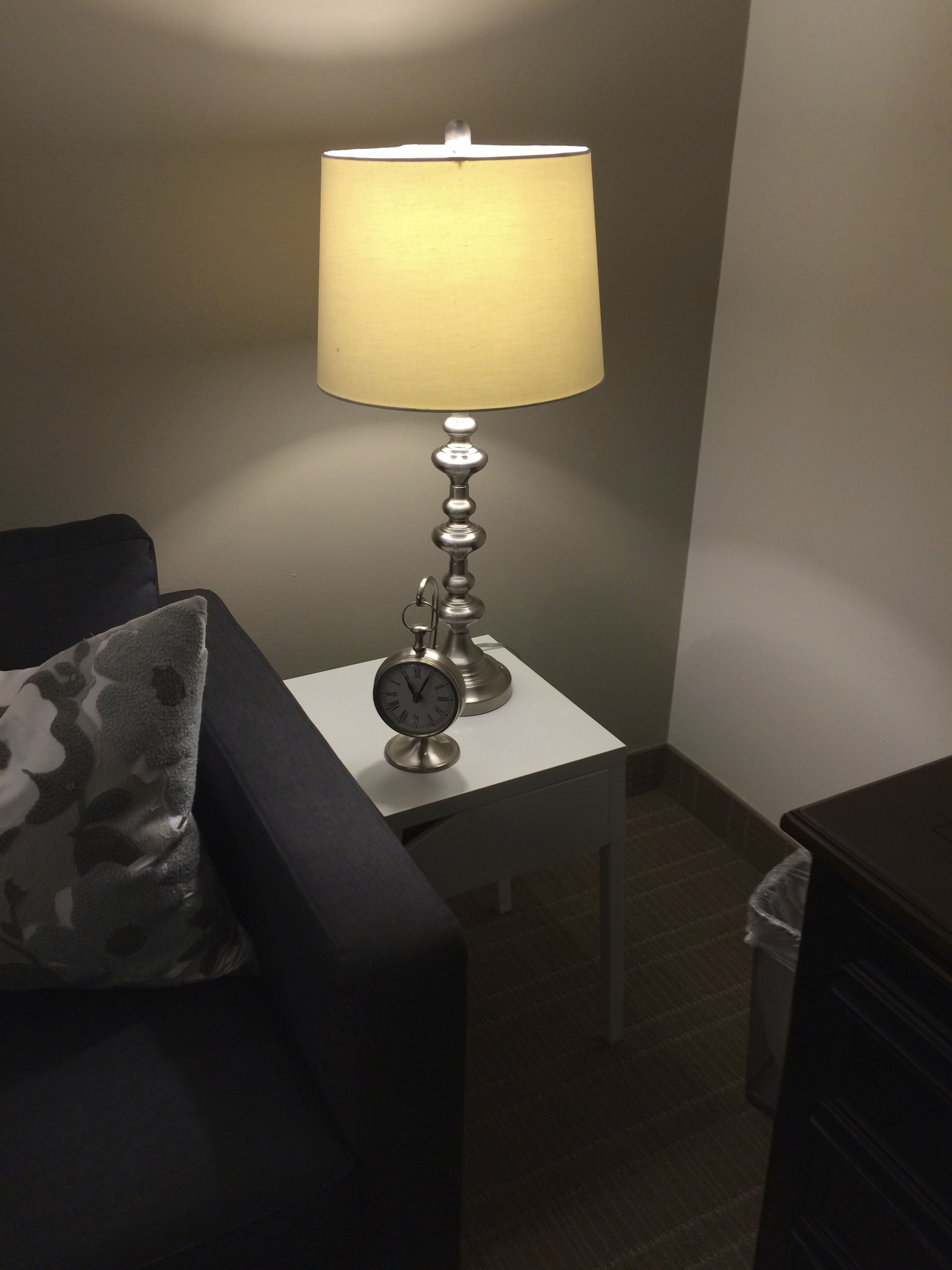 "Intern's lamp:  need to reselect white shade 12.5"" w at base; 10""w at top"