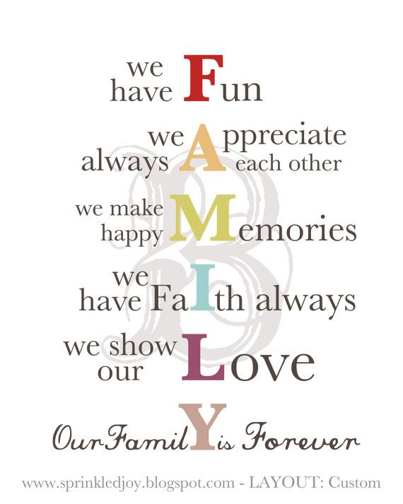Family Acronym Simple But Profound Family Mission Statements