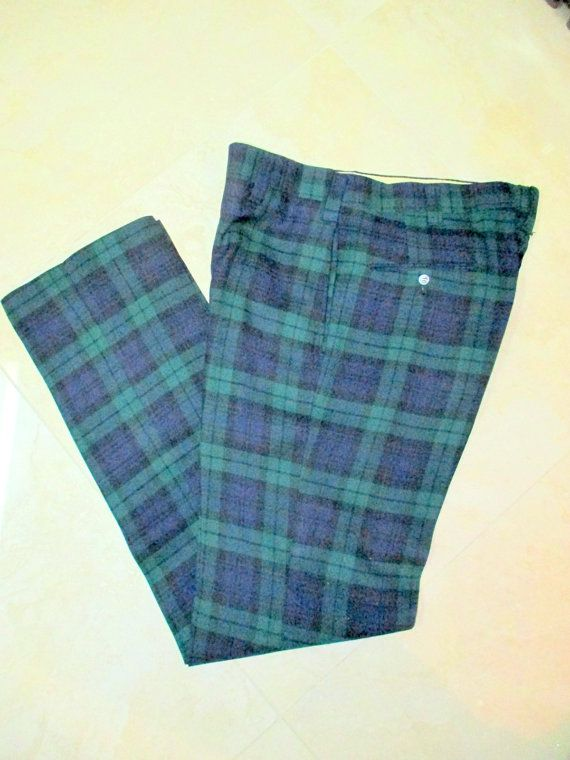 70's Wool Plaid Pants, Men's Vintage Tartan Plaid Golf Pants ...