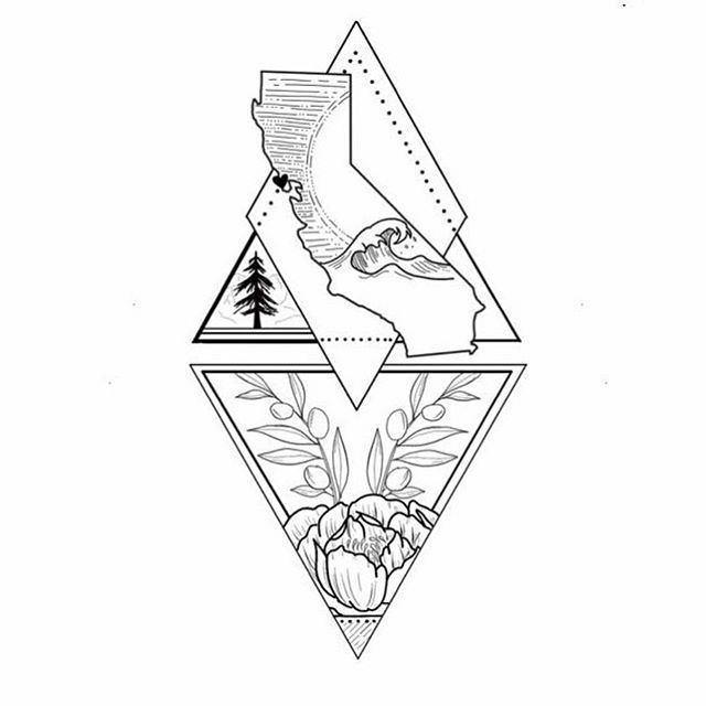 Geometric Inspiration  Inkstinct  Personal work  my home state of California This will be turned into a tattoo but it was a deep