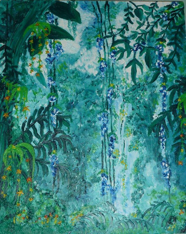 TABLEAU PEINTURE paysage forêt tropicale exotique - forêt tropicale - peindre avant de tapisser