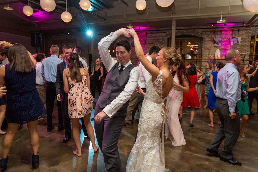 Blush and Gray Rockford Waterfront Lesbian Wedding   Equally Wed - LGBTQ  Weddings
