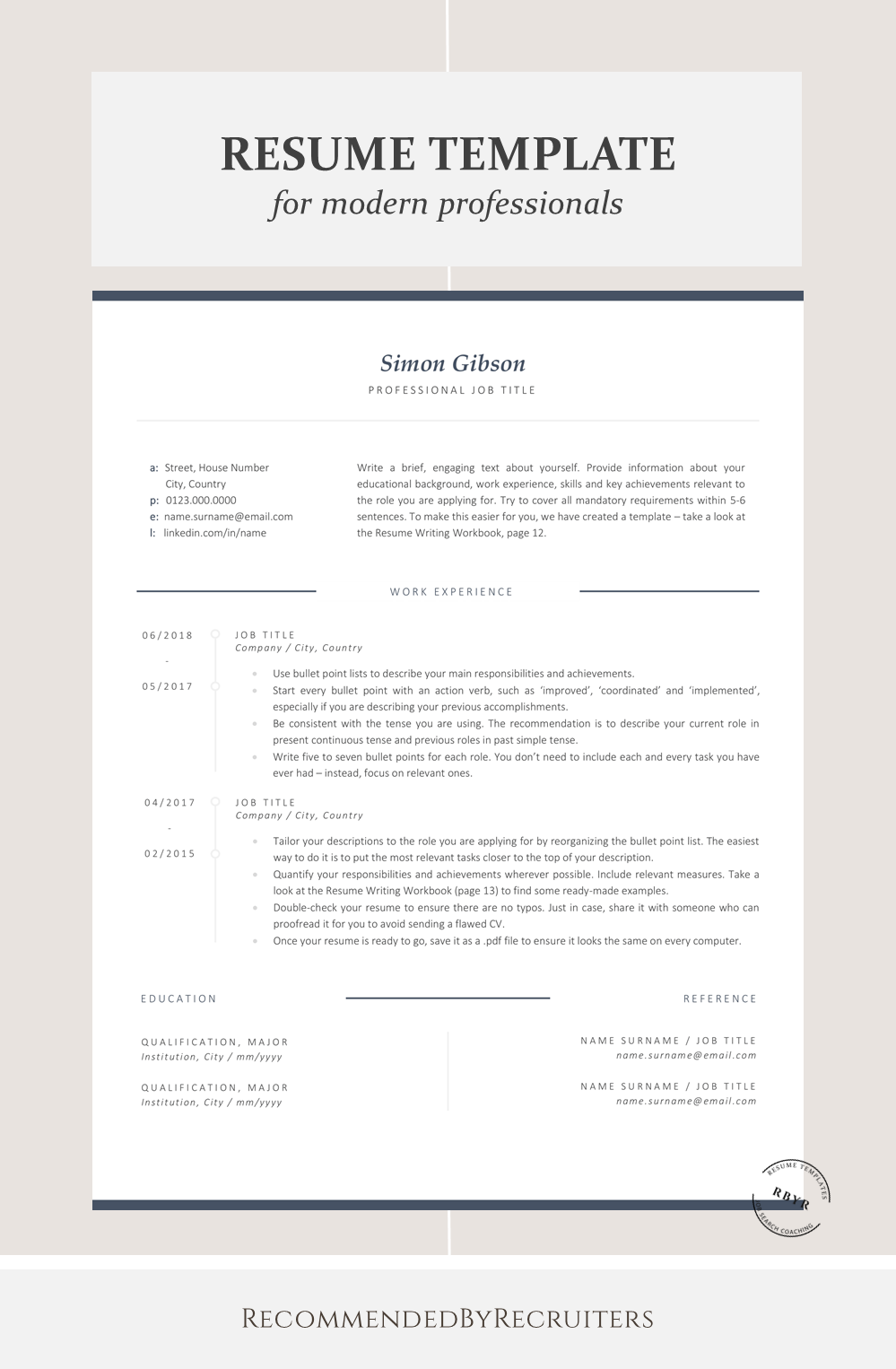 Business Resume Template, Instant Download Professional CV