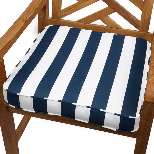 Navy Stripe 20-inch Indoor/ Outdoor Corded Chair Cushion | Patio ...
