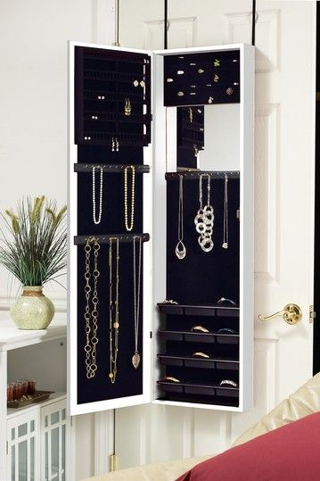 What a great way to organize your jewelry.  I love it!  You can hide it behind your bedroom door and it's portable.