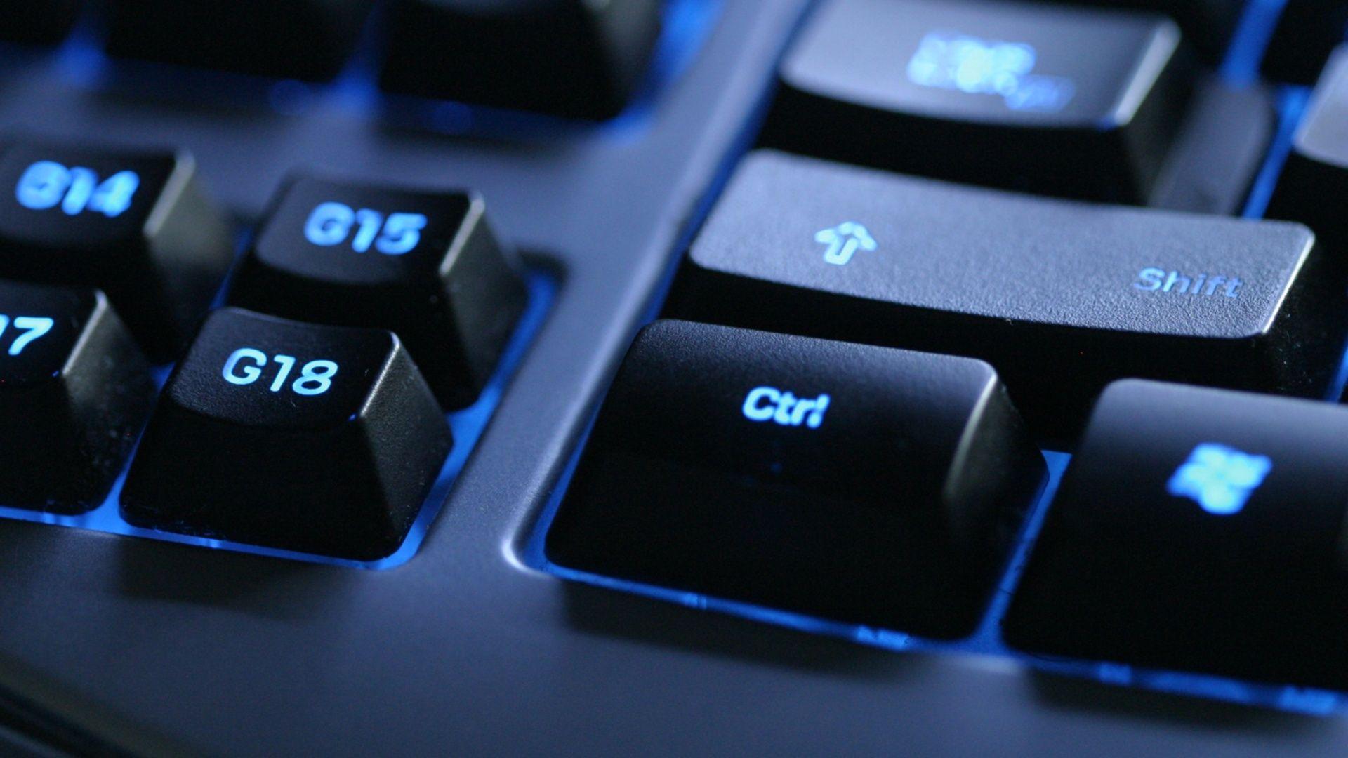 Download Wallpaper 1920x1080 Keyboard Blue Black Button Full Hd 1080p Hd Background