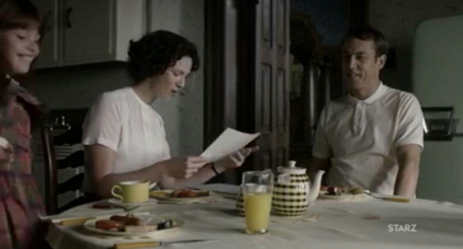 The Randall family at breakfast