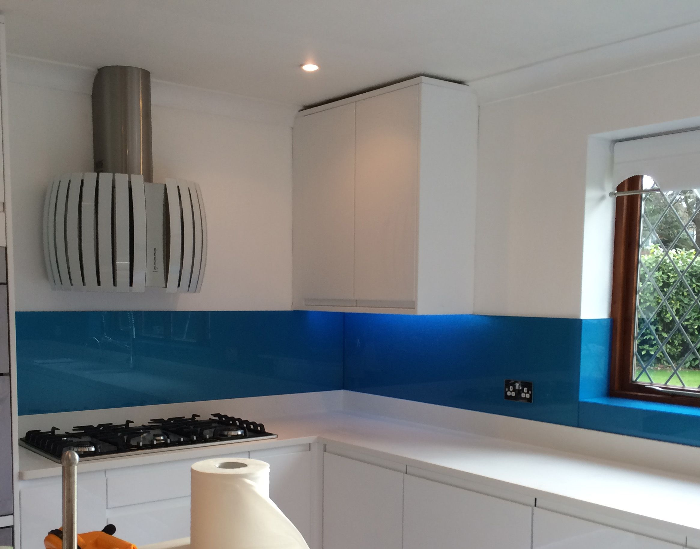 Glass splashbacks for bathroom sinks - Blue Glass Splashback Fitted By Easy Glass Splashbacks Showing Window Reveals
