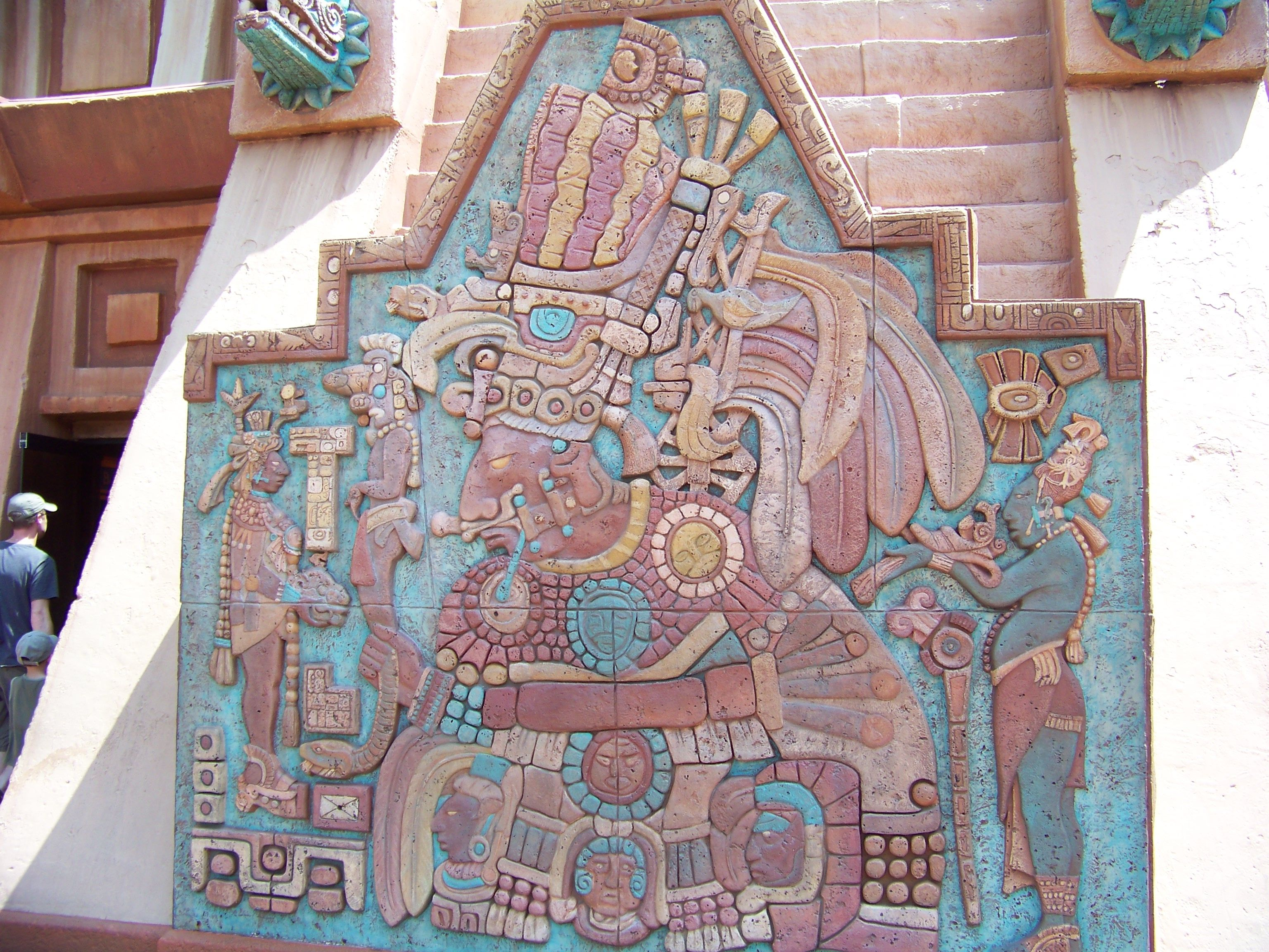 Relief Carving on pyramid modeled after Aztec Temple of Quetzalcoatl at Teotihuacan.  Mexico Pavilion, Epcot