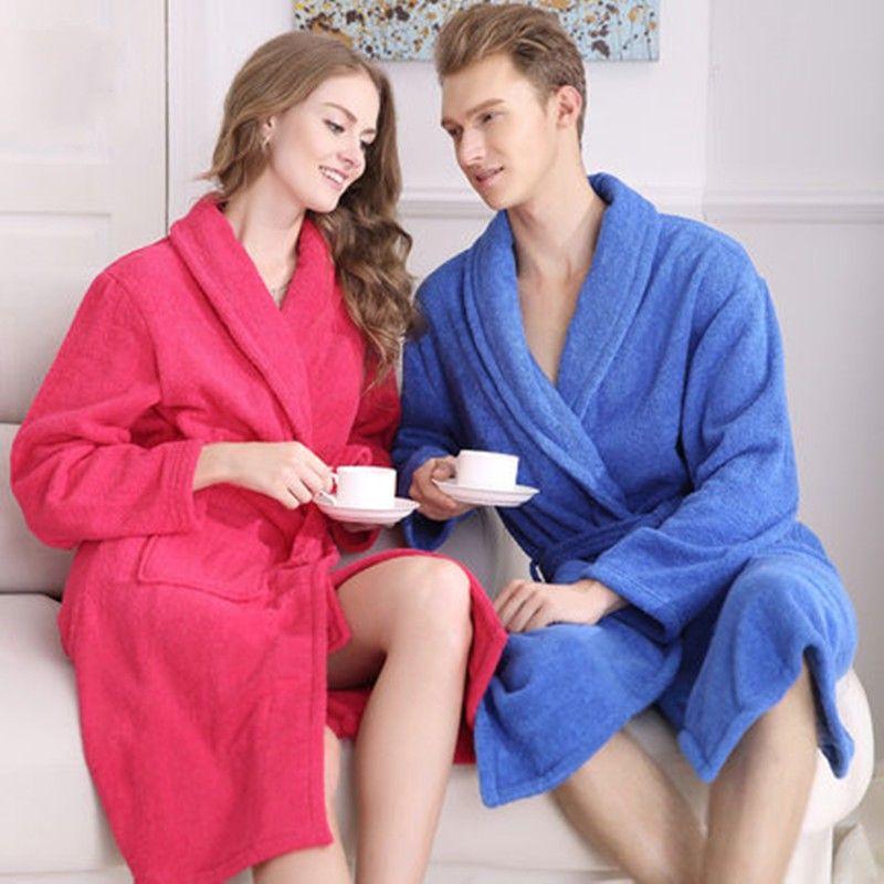 100% Cotton Unisex Long Terry Bathrobe Women Men Towel Bath Robe Femme  Dressing Gown Bridesmaid Robes Lovers Kimono Sleepwear  Affiliate ab47e8c83