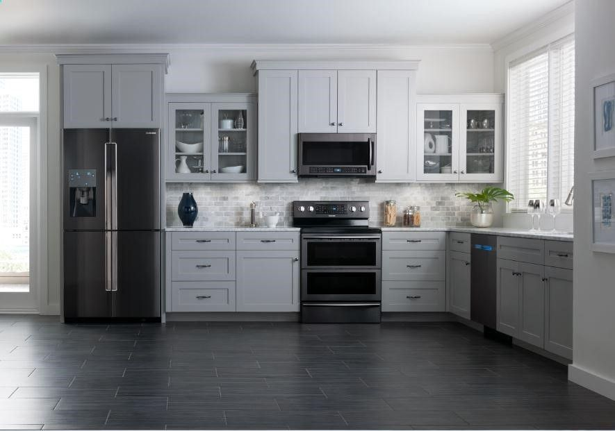Best Black Stainless Appliances White Cabinets Dark Flooring 400 x 300