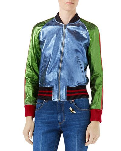 71004cd53f1f5 GUCCI METALLIC LEATHER BOMBER JACKET WITH SNAKE PATCH