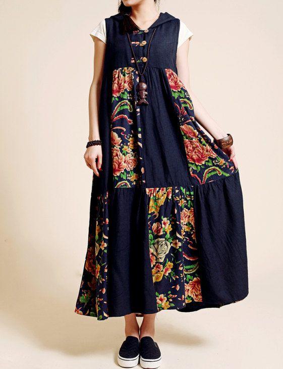 Linen Patchwork Long dress/ Hooded sleeveless womens Long dress