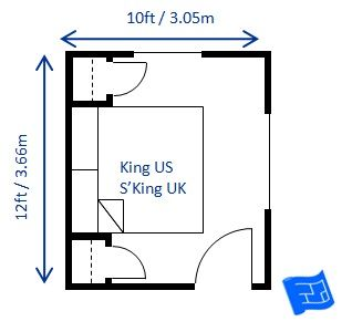 Small Bedroom Design For A King Size Bed 10 X 12ft These Are The Minimum Bedroom Dimensions For Small Bedroom Layout Bedroom Size King Size Bed In Small Room