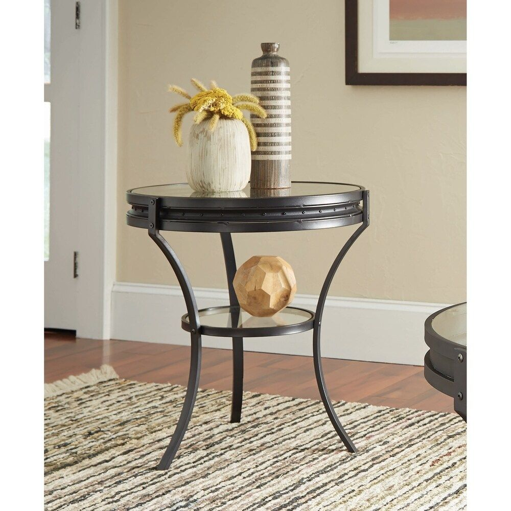 Haverly Sandy Black Metal Round End Table Metal Glass Round End Tables Shelf Includes Hardware 3 And 4 Legs Metal Finish Industrial In 2020 Glass Top End Tables End Tables Black Side Table