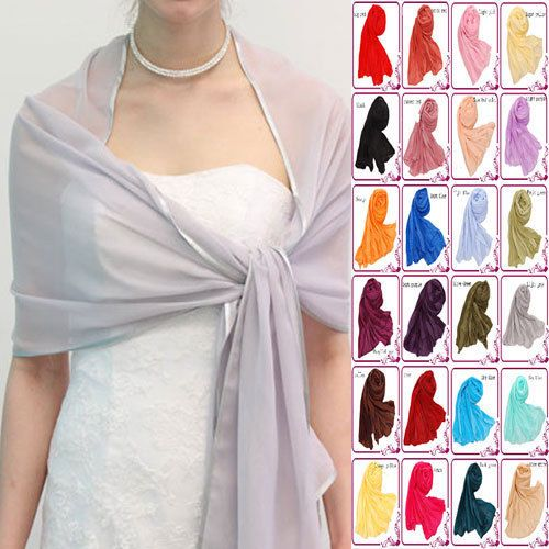 Large 220x75cm Women Chiffon Satin Soft Silk Shawls ...