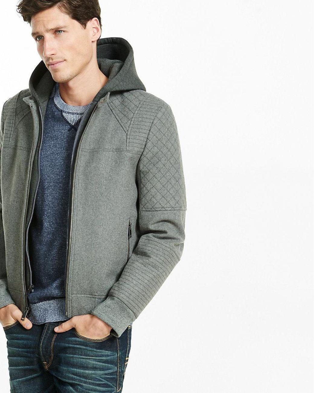 Express Gray Wool Blend Moto Bomber For Men Lyst Moto Bomber Moto Bomber Jacket Men Sweater [ 1300 x 1040 Pixel ]