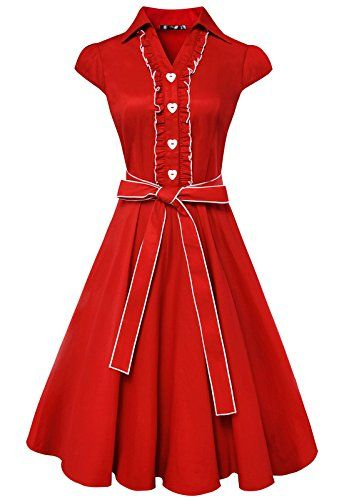 3f04ad5ad3201 Anni Coco Womens 1950s Cap Sleeve Swing Vintage Party Dresses Red Large --  Read more reviews of the product by visiting the link on the image.